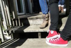 Gameday series #rcjh Red hightop Converse - gimme  http://styleonthehill.com/category/style-on-the-hill/streetstyle/