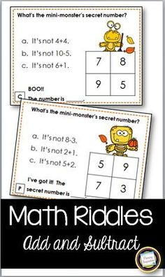 Extend your students' thinking with this set of 24 math task cards for addition and subtraction from 1-10. Your students will have fun solving three number models on each of the cards to discover Mini-Monster's Secret Number! They'll hardly realize that by the end of this set, they'll have solved 72 problems! Student recording page and answer key are included. This easy prep math center activity is great for first grade and homeschoolers love it, too!
