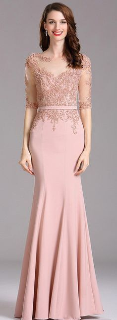 Carlyna Blush Illusion Beaded Applique Formal Dress with Sweetheart Carlyna Blush Illusion – Formelles Kleid mit Perlenapplikation und Schatz Formal Dresses Long Elegant, Trendy Dresses, Fashion Dresses, Dress Brukat, Lace Dress, Kebaya Dress, Kebaya Brokat, Dress Prom, Pink Dress