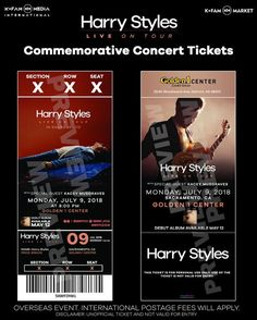 Harry Styles Concert, Harry Styles Live, One Direction Tickets, Ticket Design, Little Mix, Special Guest, Custom Items, Vintage Posters, Tours