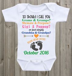 42a534acf Pregnancy Announcement Onesie baby onesie So should I call you Pregnancy  Announcement Grandparents to be Pregnancy Reveal