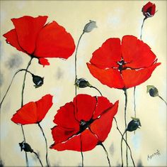 Red Poppies - Flower paintings Art print on canvas, unframed