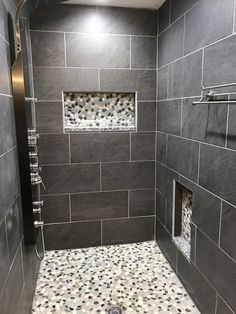 Bali Turtle Pebble Tile Shower Pan with Niche Accent