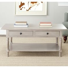 Bring a little shabby chic into your home with the Cape Cod coffee table from Safavieh. This charming table looks beautiful as a centerpiece in your living room. The alluring grey finish is compatible Coffee Table Grey, Cool Coffee Tables, Coffee Table With Storage, Grey Table, Black Coffee, Sofa End Tables, A Table, Foyer Tables, Cape Cod