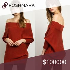 🌟JUST IN🌟Off shoulder Knit Sweater Beautiful sweater in a hot burgundy color! Perfect for this coming Fall/Winter! Buy one item get the second half off + extra 10% bundle discount, AND save on shipping 😉 Sweaters
