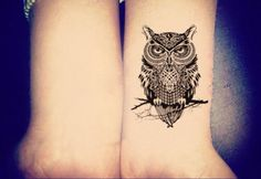 Owl Tattoo Temporary Tattoos Tribal Tattoo Black by MyBodiArt