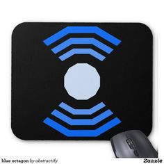 blue octagon mouse pad