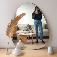 Favorite blob shape in mirror form -> came home to this 3 foot tall gift thanks to the old team at @urbanoutfittershome