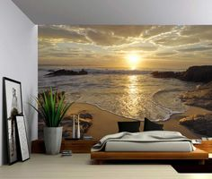 Sunrise Sea Ocean Wave Sunset Beach - Large Wall Mural, Self-adhesive Vinyl Wallpaper, Peel & Stick fabric wall decal tapeten ideen Sunset Beach, Ocean Beach, Vinil Wallpaper, Wall Wallpaper, Wallpaper Ideas, Textures Murales, Large Wall Murals, Beach Wall Murals, 3d Wall Murals