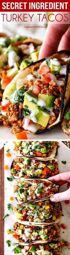 LIFE CHANGING secret ingredient Turkey Tacos that are quick easy healthy juicy and packed with flavor you wont even miss the beef! via Carlsbad Cravings Mexican Dishes, Mexican Food Recipes, Dinner Recipes, Burritos, Turkey Recipes, Chicken Recipes, Quesadillas, Clean Eating, Healthy Eating