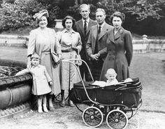 Royal family portrait, Aug. 22, 1951. (From left) Prince Charles, Queen Elizabeth, Princess Margaret, the duke of Edinburgh, King George VI, and Princess Elizabeth. Princess Anne is in the baby carriage.