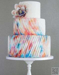 6. #Pleated Watercolors - #These #Fashion #Inspired Cakes Will Make You #Drool ... → Fashion #Chanel