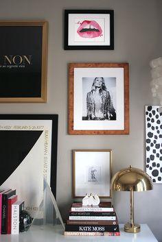 gallery wall, Kate Moss, @Jessica Rowe {The Aestate} lips, Ellsworth Kelly poster, art, burlwood, brass mushroom lamp, vintage Lucite, books, Kelly Wearstler, Marilyn Minter