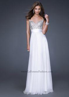 White Long Sequin Top Spaghetti Strap La Femme 16802 Prom Dress