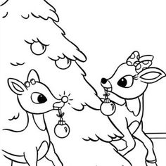 Santa Claus and Rudolph Picking Christmas Present for Kids ...