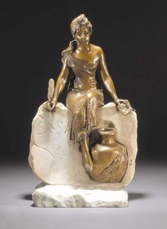 'L'HISTOIRE' A PATINATED BRONZE AND MARBLE FIGURE cast and carved from a model by E.Villanis, incorporating an inkwell, incised title and 'Sasan' in the marble -- 47cm. high | CLASSIC ART NOUVEAU