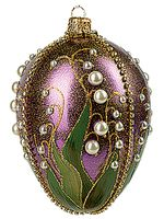 Faberge Inspired Purple Lilies of the Valley Egg Polish Glass Christmas or Easter Ornament Z