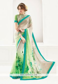 Lustrous Light Green Georgette Printed Saree