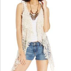 American Rag crochet ivory vest super cute for summer and music festivals! Brand New never worn. American Rag Jackets & Coats Vests