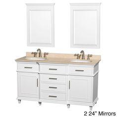 Berkeley 60-inch White Double Vanity   Overstock™ Shopping - Great Deals on Wyndham Collection Bath Vanities