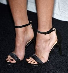 Olivia Munn, shoe detail, arrives at the launch of Samsung's Galaxy S 6 and Galaxy S 6 Edge at Quixote Studios on April 2, 2015 in Los Angeles, California.