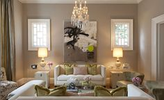 Kendall Wilkinson Design - living rooms - taupe walls, taupe wall color, taupe drapes, taupe curtains, floor length drapes, floor length cur...