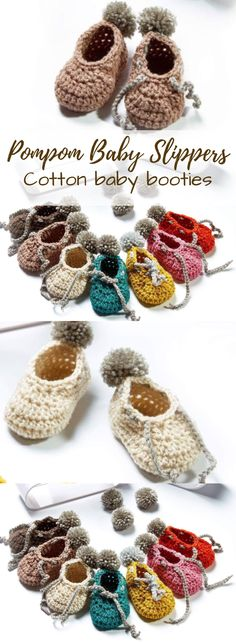 Pompom crocheted cotton baby slippers. Sweet little booties for a little one. So adorable! Love handmade gifts! #etsy #ad