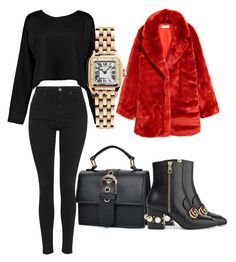"""""""Untitled #822"""" by cathatin on Polyvore featuring H&M, Gucci, Topshop, Boohoo and Cartier"""