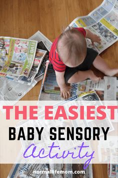 Easy baby sensory play! Set up this easy activity in no time and watch your child have endless fun. Easy indoor baby play idea #babysensoryplay #sensoryplay #sensoryactivities #babysensoryideas #sensoryplaybaby #babyactivities #babyplay