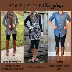 Oct 2015 - How to Style Leggings - fall is officially here, which means it's time to wear leggings and boots! Read this post for tips on how to style your leggings, including where to find tunics and dresses to complete your outfit. Leggings Mode, Fall Leggings, How To Wear Leggings, Ladies Leggings, Dress Leggings, Boots And Leggings, Legging Outfits, Leggings Fashion, Fall Winter Outfits