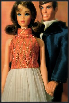 Mod Era Barbie with clone dress, It also has a stunning matching coat in the orange fabric.