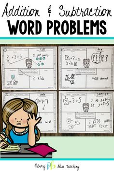 Word problems can be tricky for first graders. This set of addition and subtraction math story problems (with the unknown in all positions) is sure to have your students accurately solving word problems in no time! Grab your set today! Word Problems 3rd Grade, Math Story Problems, First Grade Words, First Grade Math, Math Lesson Plans, Math Lessons, Math Fact Fluency, Math Words, Math Facts