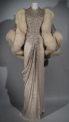 vintage Dior, oh my! :: sparkle :: column gown :: wedding dress :: beige :: grey :: greige :: bridal :: inspiration :: sleeves :: fur :: detail ::