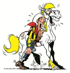 Les chevaux de fiction - Jolly Jumper - Jolly Jumper et Lycky Luke qui éclate de rire