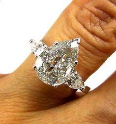 2.67CT ESTATE PEAR DIAMOND SOLITAIRE ENGAGEMENT WEDDING RING EGL USA CERT PLAT