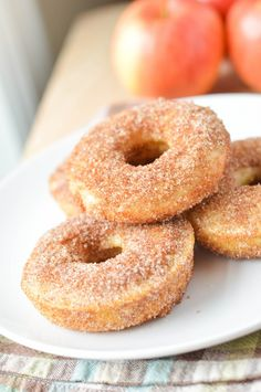 Apple Cider Donuts great for breakfast or dessert! The mild apple flavor pairs perfectly with the cinnamon sugar topping. Bon Dessert, Dessert Drinks, Dessert Recipes, What's For Breakfast, Breakfast Recipes, Fall Recipes, Sweet Recipes, Yummy Treats, Delicious Desserts
