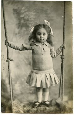 1910s Little Girl on a Swing Real Photo Postcard by AuntieGVintage