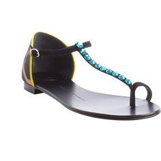 Giuseppe Zanotti Black And Aqua And Yellow Leopard Print Thong Sandals... (€720) ❤ liked on Polyvore featuring shoes, sandals, leopard sandals, black jeweled sandals, strappy sandals, jeweled sandals and leather strap sandals