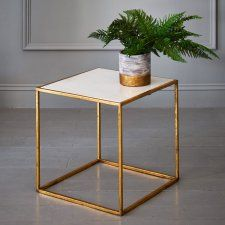 Odell Gold And Marble Square Table - Coffee & Side Tables - Furniture - Furniture Loft Room, Living Spaces, Living Room, Square Tables, Table Furniture, Interior Design, Marble, Side Tables, Graham