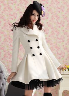 4 - Elegant Gothic Double Breasted Gauze Trimming Coat
