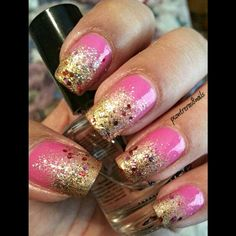 Pink and Gold Glitter Gradient Nails