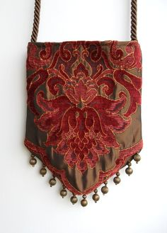 Gypsy Bag with Brass Beads Rose and Light Burgundy Chenille Hippie Bag Boho Bead Bag Cross Body Bag. $40.00, via Etsy.