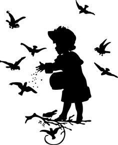 My mom used to do this kind of art... so pretty. Girl Feeding Birds Clip Art at Clker.com - vector clip art online ...