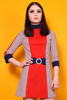 60s REPRO RED STRIPE MOD SCOOTER BUCKLE GO-GO SPACE AGE MINI DRESS from Velvet Cave Vintage