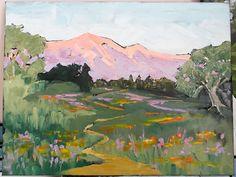 Lynne French IMPRESSIONIST Plein Air LANDSCAPE California Wildflower Trail Painting 16x20 Art