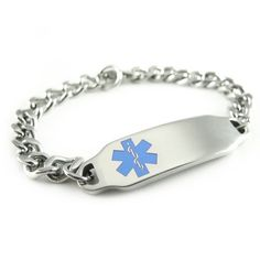 Pre Engraved - Pacemaker Medical Alert ID Bracelet, Light Blue Symbol by My Identity Doctor