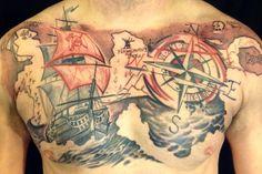 Pirate ship chest tattoo