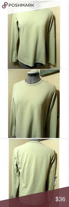 "PATAGONIA Base Layer T-shirt M Lt. Green long slv Individual monitors may display slightly different colors or hues...   PATAGONIA Sport T-Shirt  TAG SIZE: M BUST: 38""  LENGTH: 24"" from top of the shoulder down  Sporty base-layer shirt Stretch fit Rounded neck Very tightly woven ribbed knit Long sleeve Organic cotton blend Backing on this shirt is almost plastic feeling Light green in color Light wash and wear. Accessories sold separately. Patagonia Tops Tees - Long Sleeve"