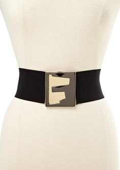VIA SPIGA  Stretch Waist Cincher with Statement Buckle