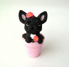 French Bulldog in Flower Pot polymer handcrafted dog by theWRC
